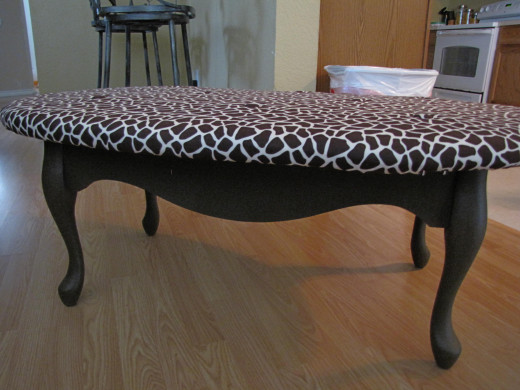 Our finished coffee table ottoman!