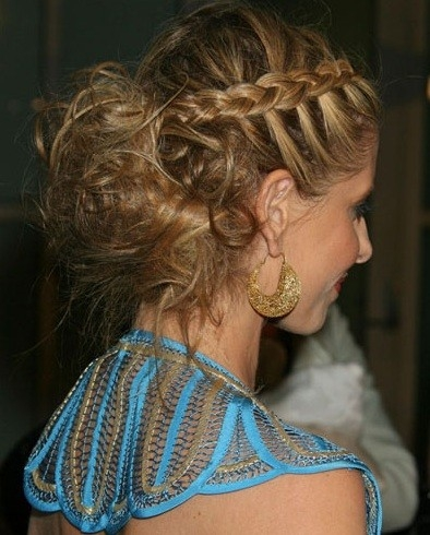 Messy bun with french is braids