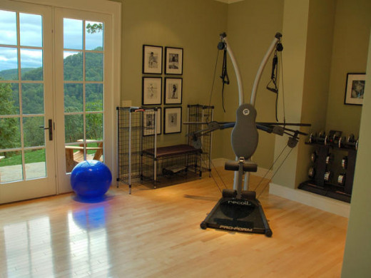 Let the outside shine in on this home fitness room with a view