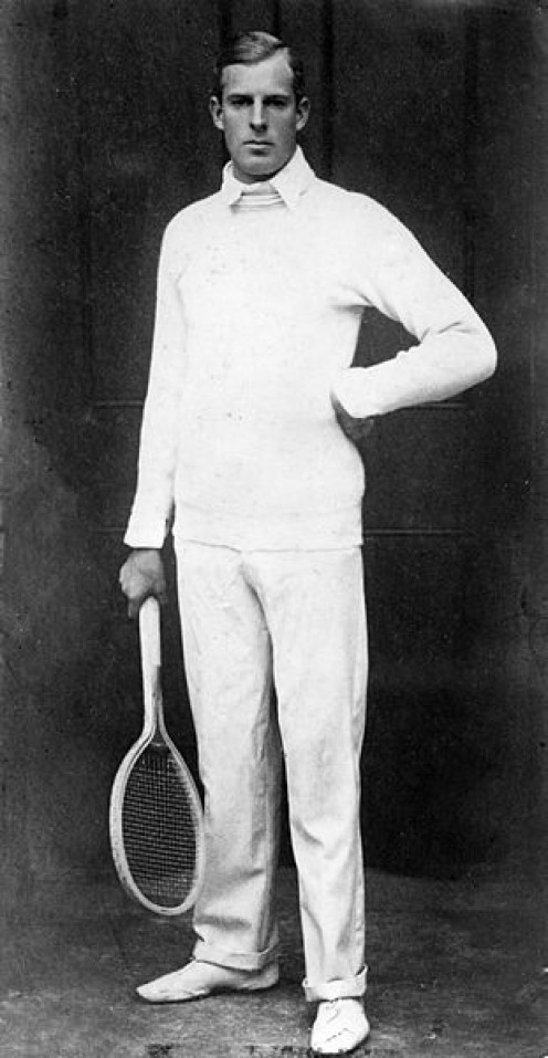 Portrait of tennis champion Anthony Frederick Wilding.