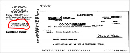 This is the returned check from this work at home job scam that I averted.