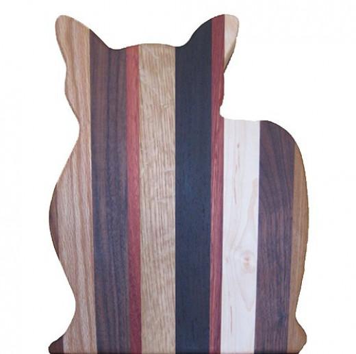 Purpleheart Wood Cat Cutting Board