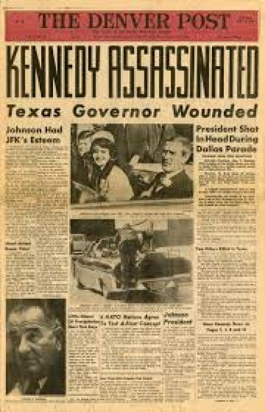 Front Page of Denver Post, Friday, November 22, 1963