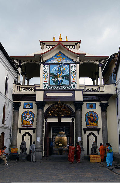 A view of main entrance of the Pashupatinath Temple. You can see the back of the Nandi bull inside. Non-Hindus are not permitted to enter this temple.