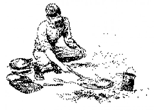 Sketch of a soldier frying his hardtack