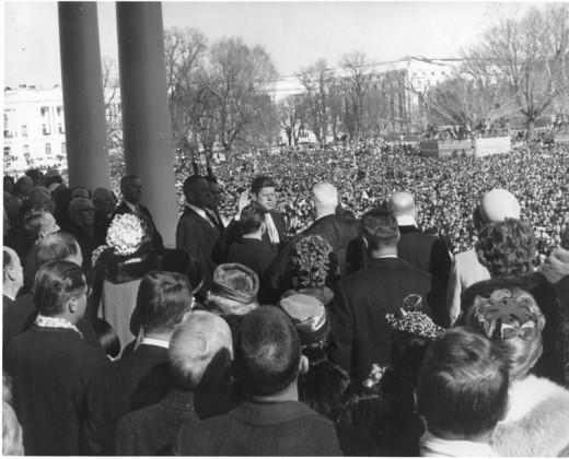 President Kennedy taking the oath of office 1961.