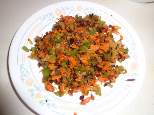 Cooked vegetable in a separate plate.