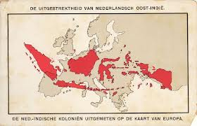 This map shows the enormous size of the Dutch East Indies Colony, projected over Europe- called 'the Emerald Belt'. Controlling this enormous colony was a mission impossible.