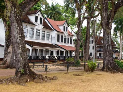 Suriname with typical colonial houses.