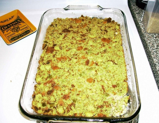 Step 4: Mix your cornbread in a large casserole with your veggies and chicken stock, and bake