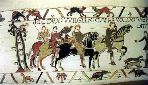 A hunting scene from the Bayeux tapestry.