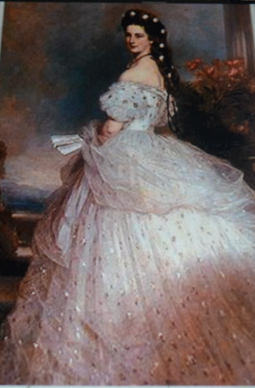 painting of dress designed by Charles Frederick Worth for Elizabeth of Austria