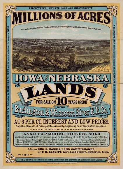 Land for sale during the Homestead Act in Iowa and Nebraska