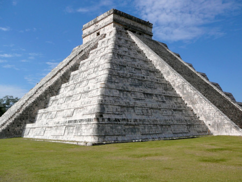 The Pyramid of Kukulkan. It stands tall in Chichen Itza, Mexico.