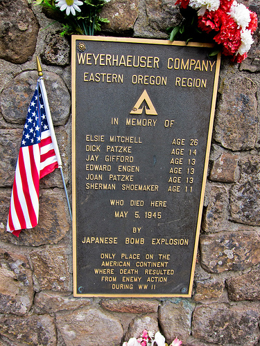 Mitchell Monument, Bly OR, is the only location in the continental US where Americans died during World War II as a direct result of enemy action.