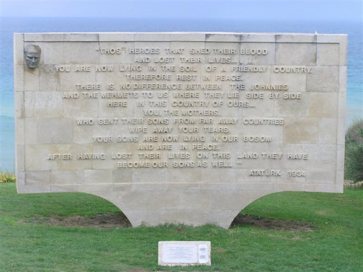 One of several monuments of remembrance at the site of the battle of Gallipoli.