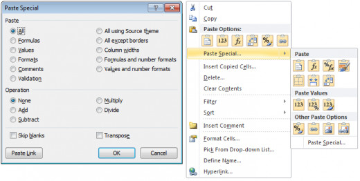 Paste Special in Excel 2007 (left) used check boxes, while in Excel 2010, (right) buttons have been introduced.