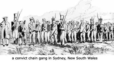 Convicts were originally sent to the New South Wales colony before other parts of the coast were opened up for 'development'. When the sentence was completed the freed convicts could either stay or return to the UK. Most stayed