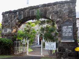 Moku'aikaua Church in Kailua-Kona, is the oldest Christian Church in Hawaii - the gate was constructed circa 1900