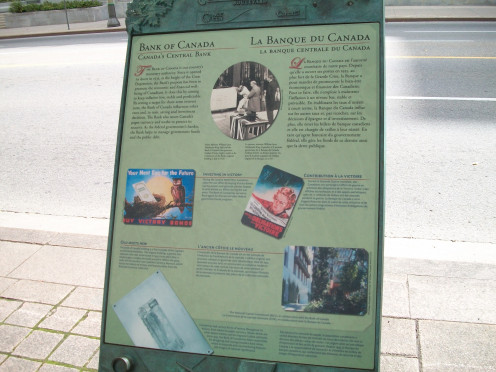 Information panel, Central Bank of Canada building, Wellington Street, Ottawa