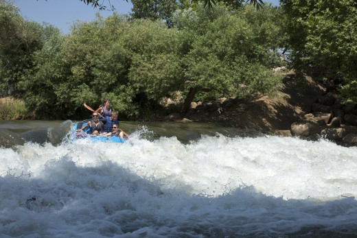 White water rafting on the River Jordan.