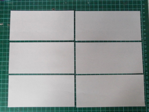 A4 paper cut into six rectangular pieces.