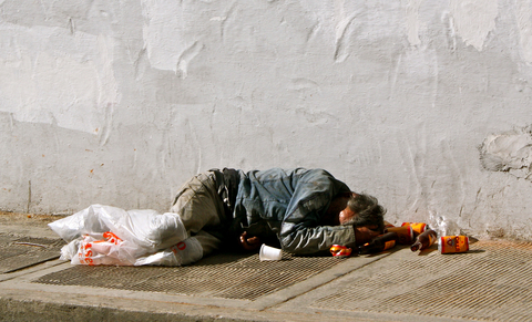 Homeless man in Columbia, South America