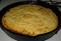 Skillet cornbread is the base for corn bread dressing. Cornbread may be baked in skillet or baking pan.