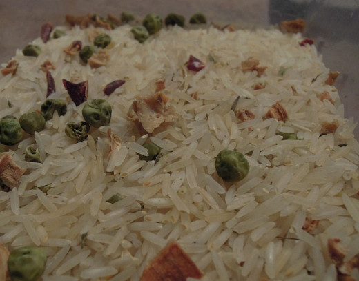 Homemade herby rice mix with dried vegetables.