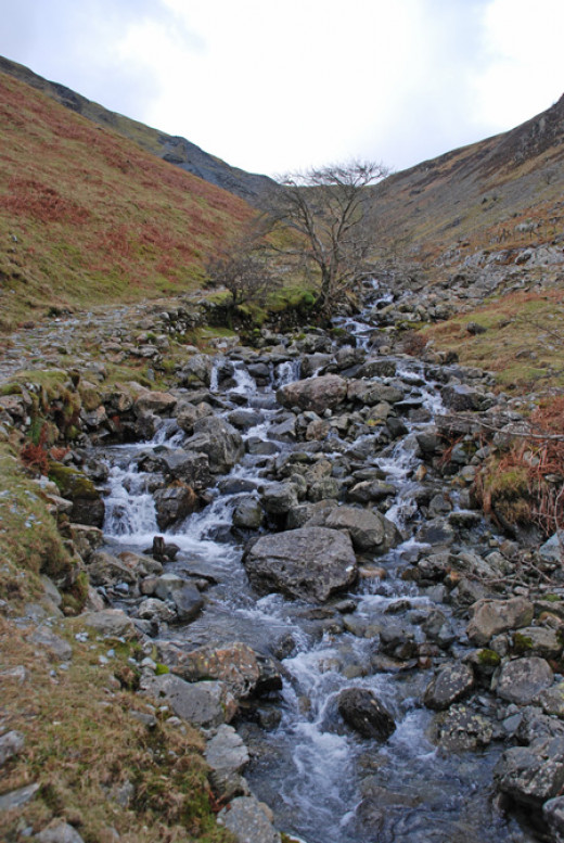Looking up Tongue Gill towards Rigg Head Quarry