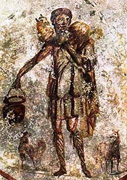 Jesus as the Good Shepherd. Ceiling - S. Callisto catacomb. Mid 3rd century A.D.