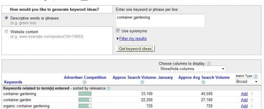 adwords search result