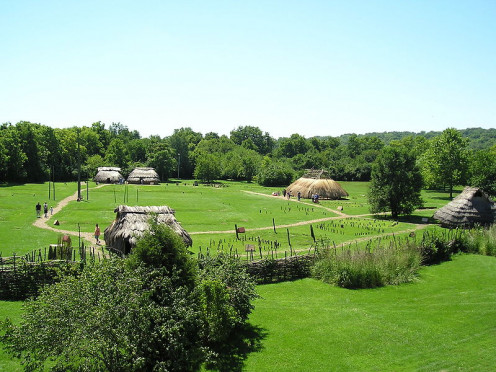 The Shawnee of Kansas and Missouri are traced by authorities to ancestors at Fort Ancient site in Ohio in communities like Sunwatch Village, shown here.