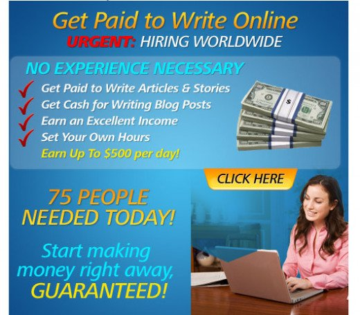 Real writing banner ads posting a daily routine in search for writers.