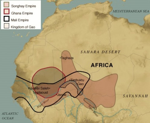 Boundary map of Ghana, Songhai, and Mali empires shows overlapping territory.