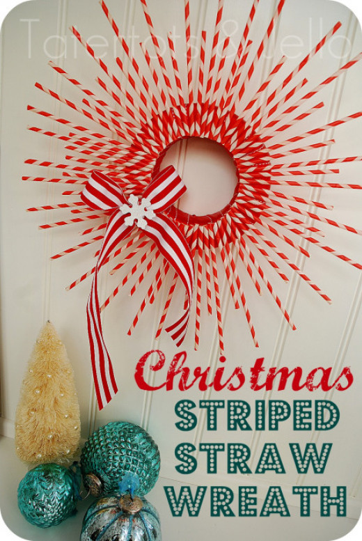 Simple Stripped Straw Wreath DIY
