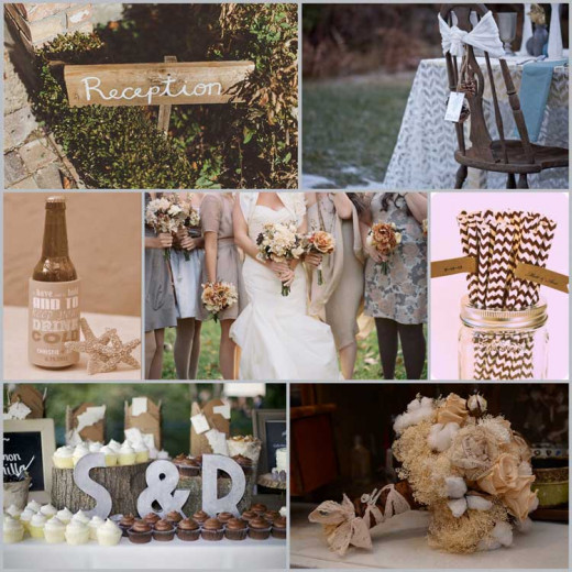 Vintage wedding color ideas, this combination is rustic and mysterious!