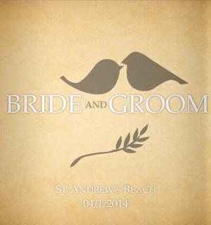 Two love birds, great wedding koozies!