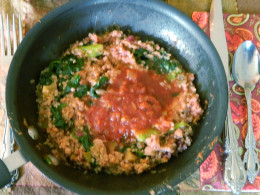 The quinoa here was leftover,  sauteed  the greens and heated the beans for a fast lunch.
