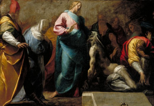 'The Raising of Lazarus' depicts a miracle of Jesus, in which he supposedly resurrects Lazarus four days after his burial.