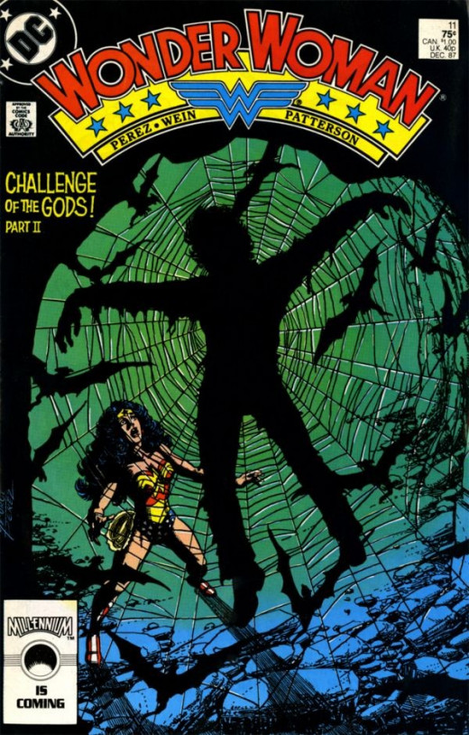 Diana finding what seems to be Julia trapped on a massive spider web on the cover of issue #11.