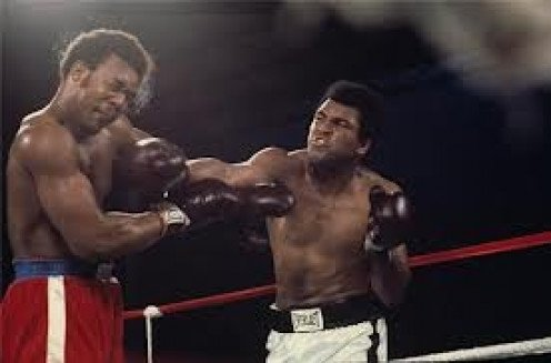 Muhammad Ali knocked out George Foreman in eight rounds to become a two time heavyweight champion.