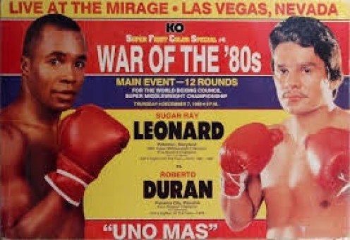 Lightweight champion Roberto Duran moved up to welterweight and defeated the then undefeated Sugar Ray Leonard.