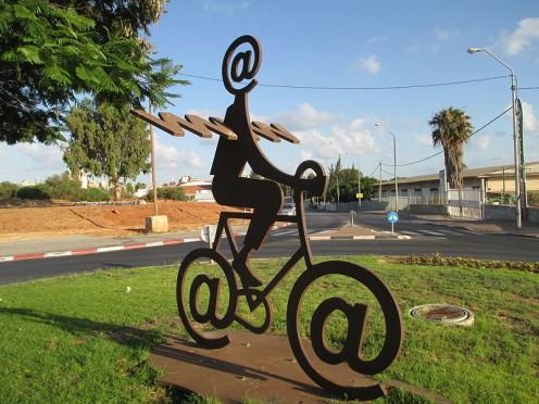 The Internet Messenger: sculpture by Buky Schwartz