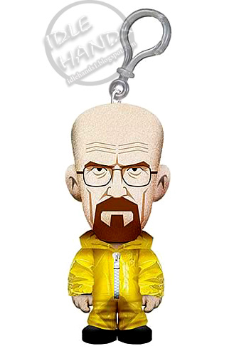 Plush toy keychain of Walter White in a yellow hazmat suit