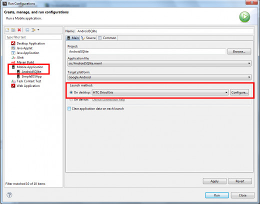 Figure 10: Creating a Run Configuration in Flash Builder 4.6 with the targeted device.