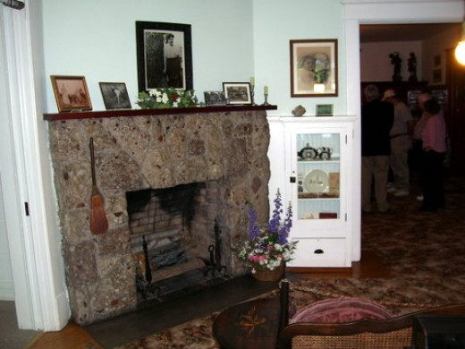 The puddingstone fireplace