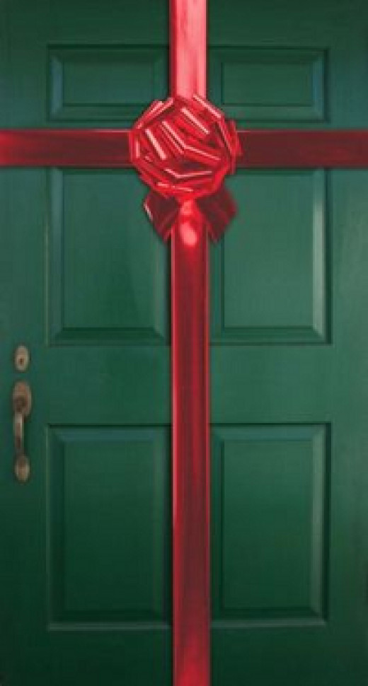 Ribbon Door Display for Christmas