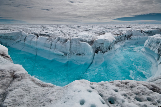 Meltwater from glaciers on Greenland