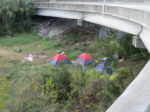 Homeless Vet encampment under the bridge